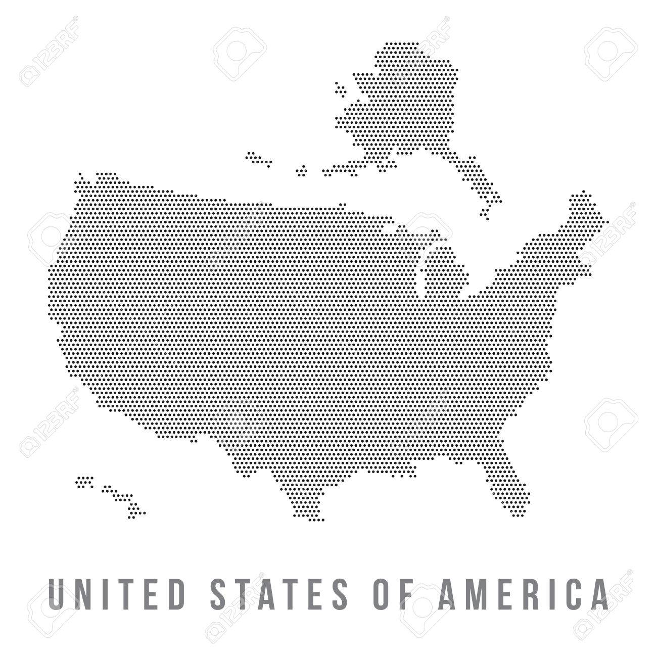 Dotted USA Map Isolated In White Background Stock Photo Picture - A a large map of the usa