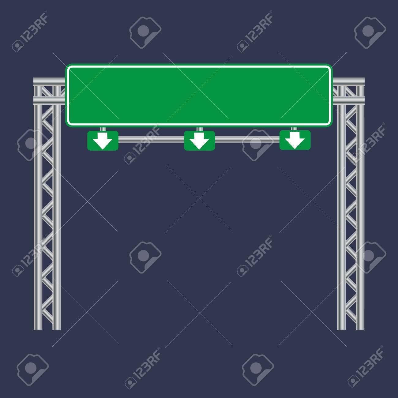 blank green traffic road sign on black stock vector - 44105360
