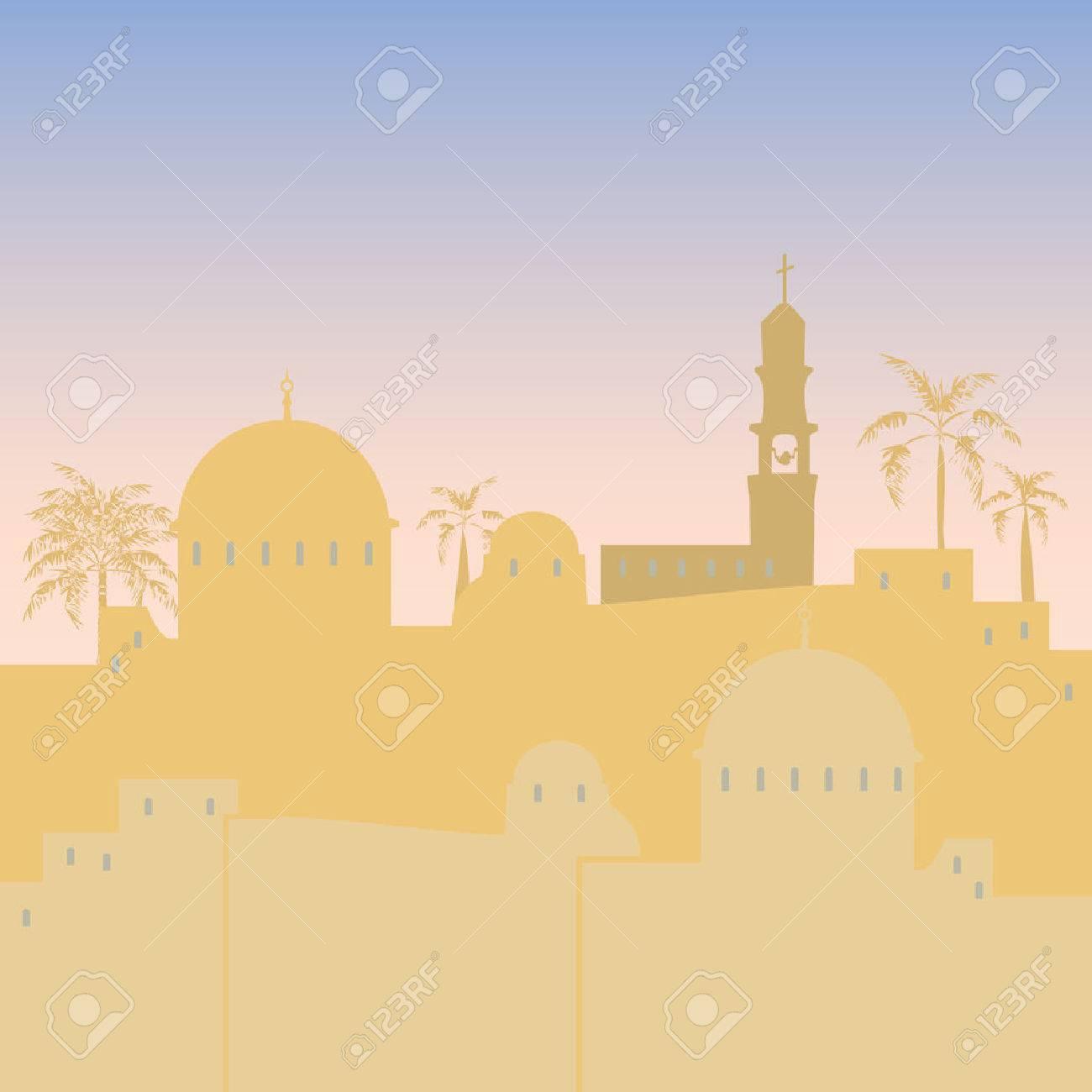 Jerusalem Israel skyline silhouette flat design illustration - 59853120