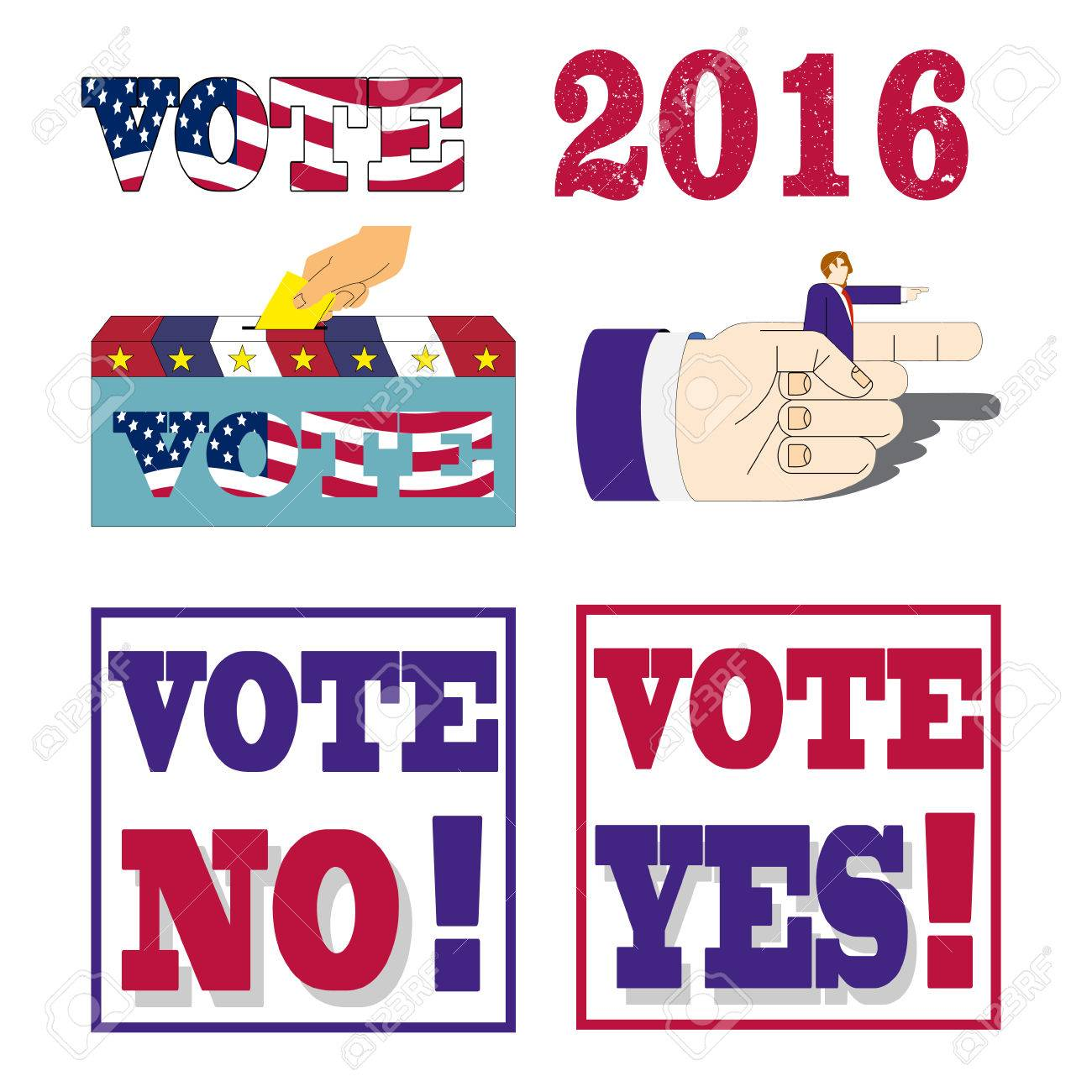 American Election Badges And Vote Labels Symbols Of Usa President
