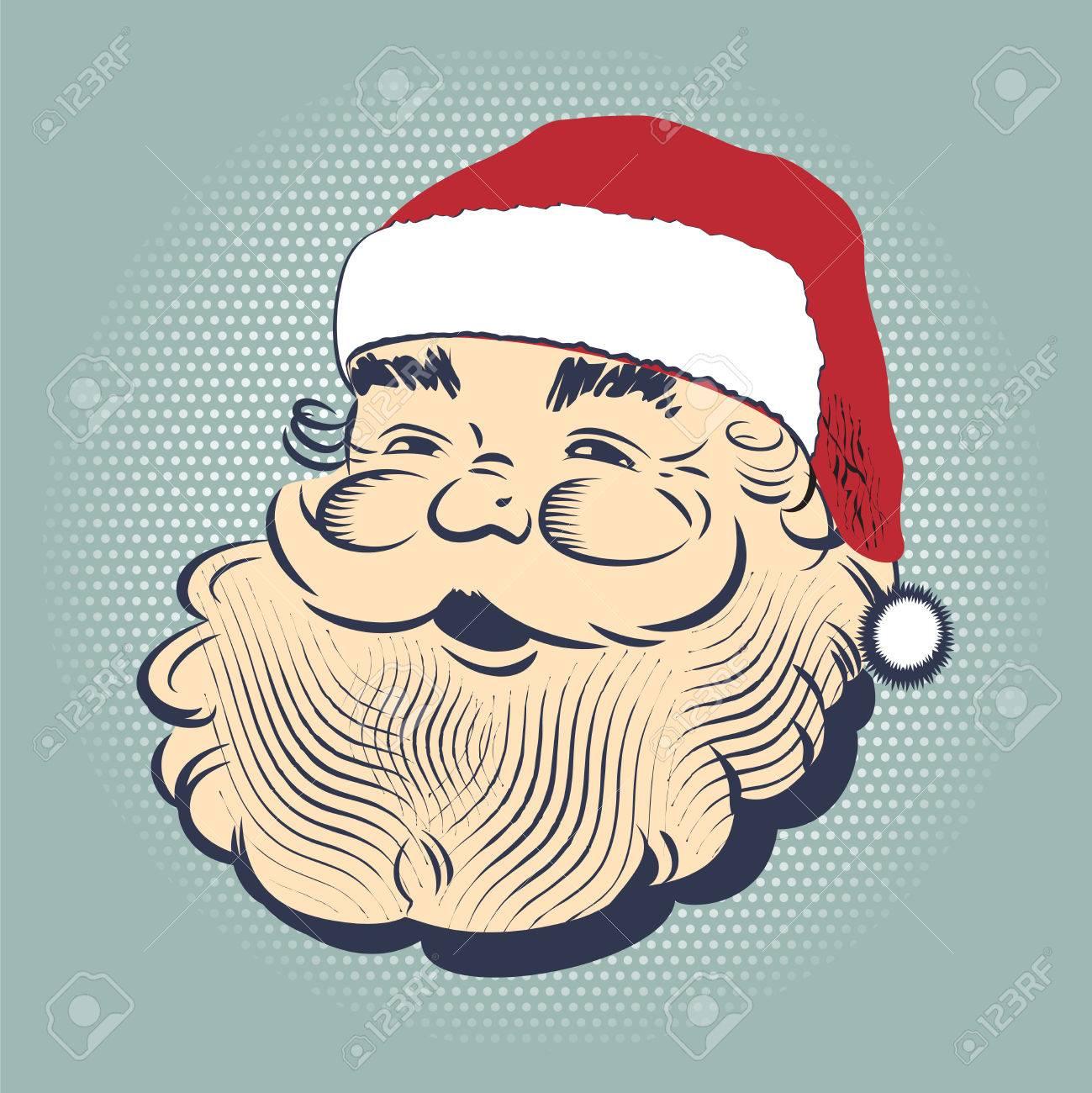 Christmas hand drawn retro postcard with cute smiling Santa Claus - 64991205
