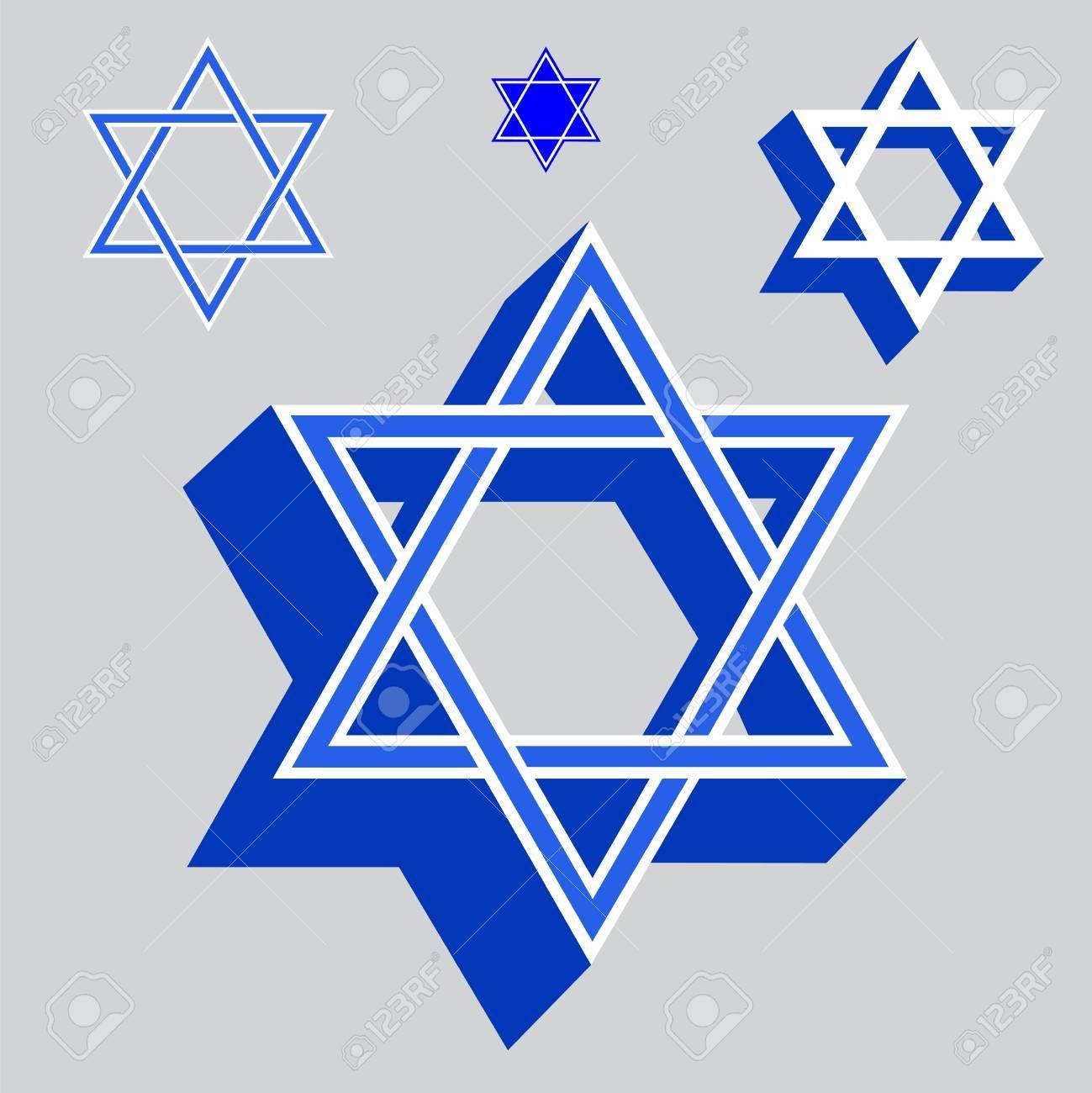 Star Of David Jewish Religious Symbols Vector Illustration