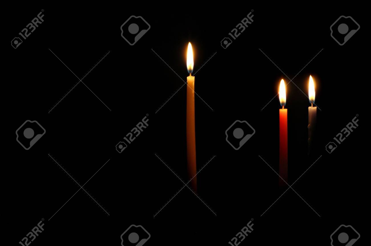 Chanukah candles lit for the second night Stock Photo - 285615