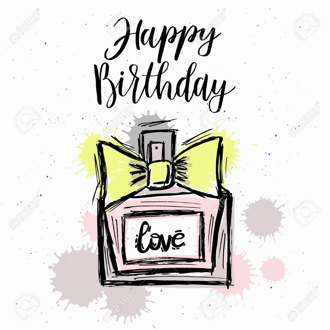 fashion illustration happy birthday vector sketch brand perfume rh 123rf com Funny Happy Birthday Clip Art Clip Birthday Art 3D Happy