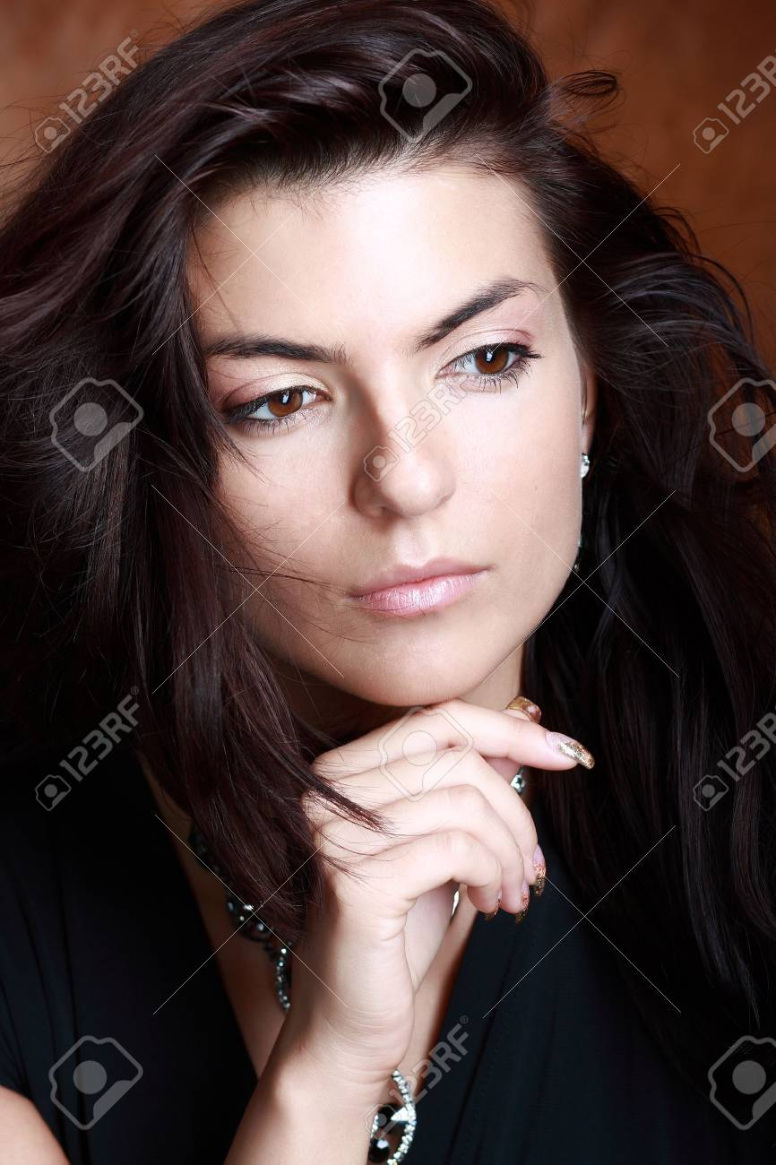Improbably beautiful lady in expensive necklace on her neck. Stock Photo - 5633312
