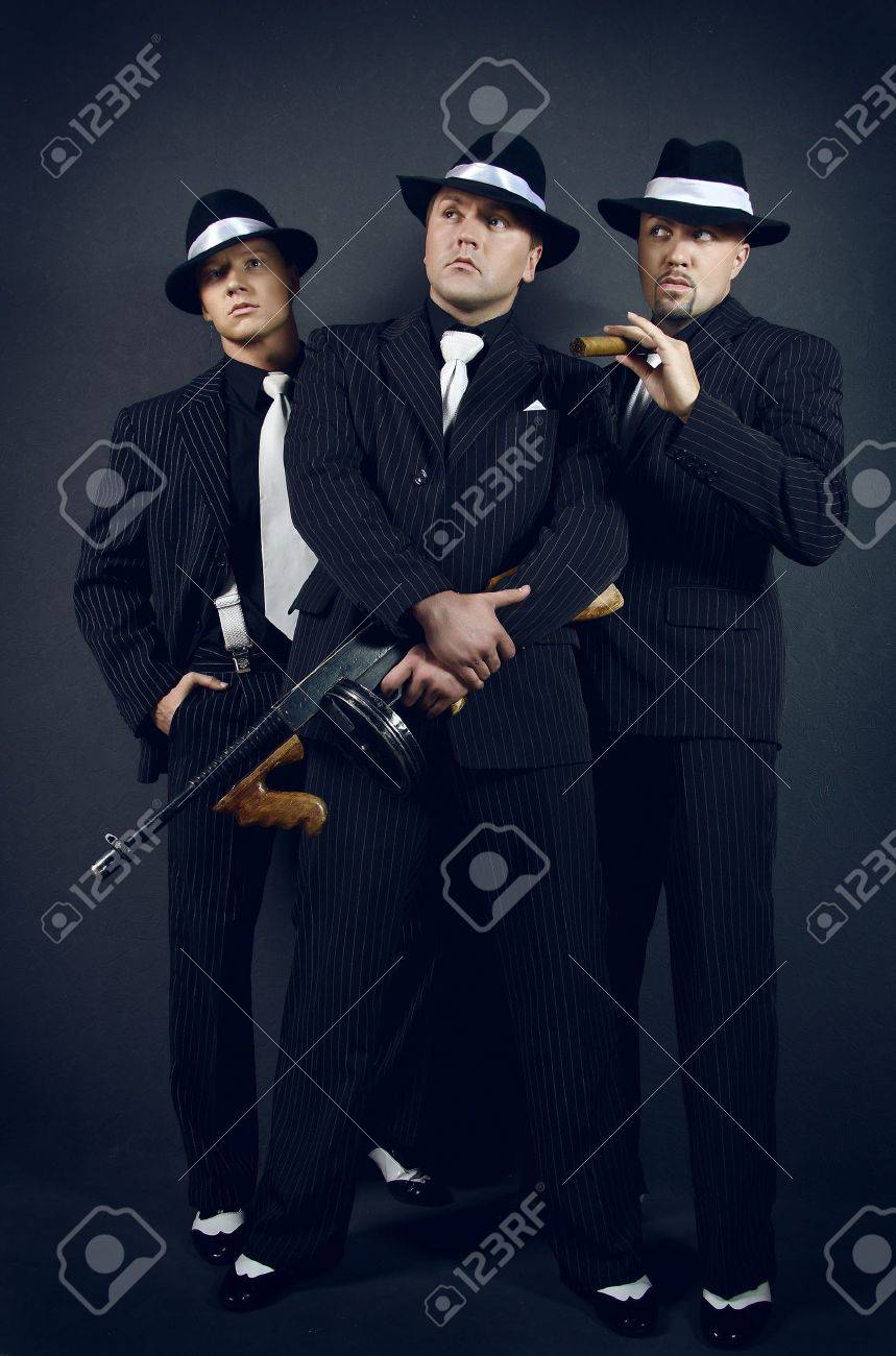 three gangsters gangster gang stock photo picture and royalty free