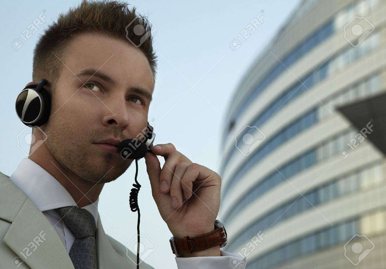 Security agent watching downtown area Stock Photo - 7874903