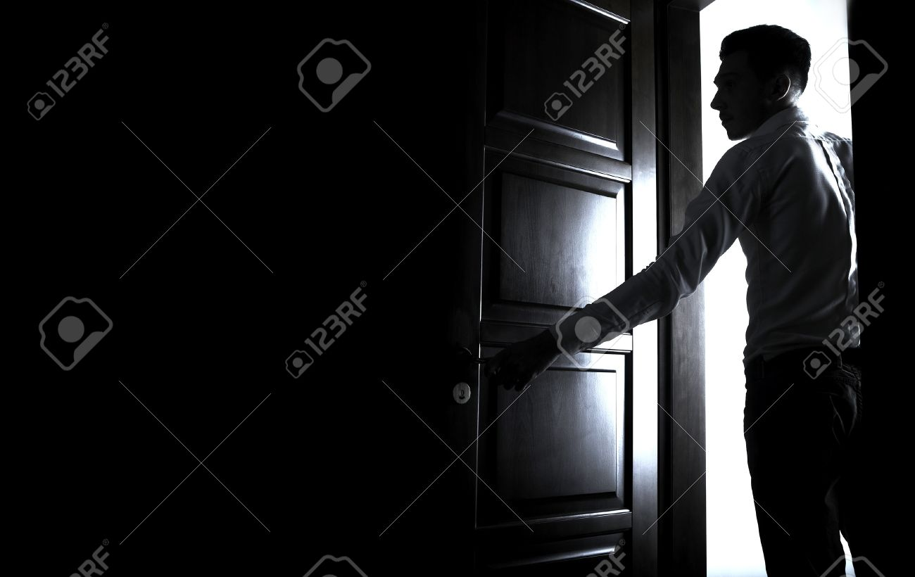 man opens the door to a dark room Stock Photo - 8596629 & Man Opens The Door To A Dark Room Stock Photo Picture And Royalty ...