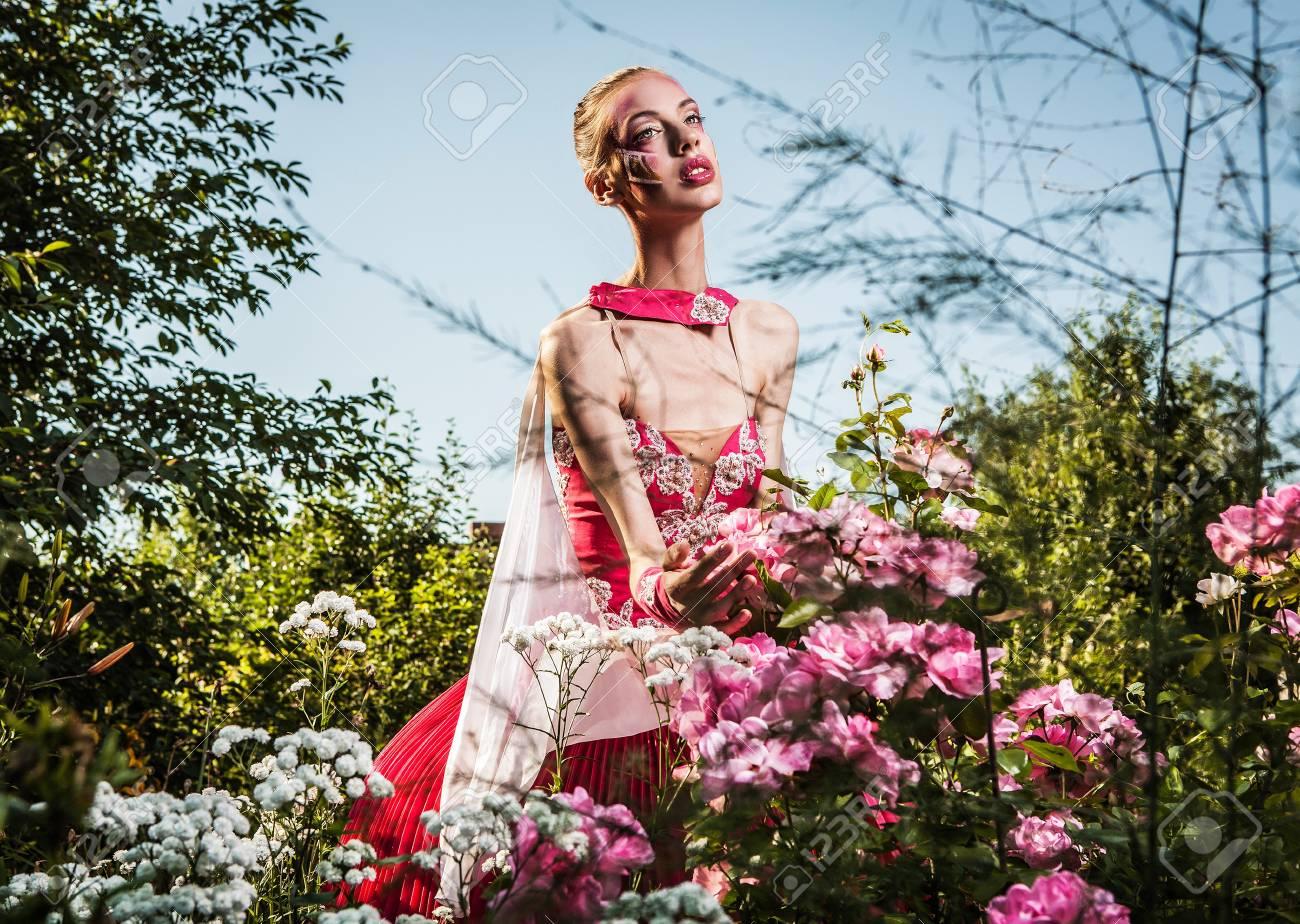 Attractive romantic woman on beautiful dress pose outdoor  Autumn Stock Photo - 15575121