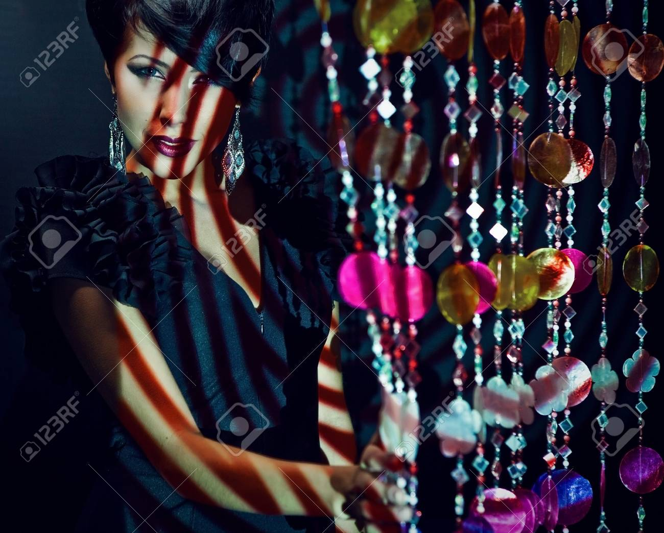 beautiful girl pose on colorful light Stock Photo - 15575107