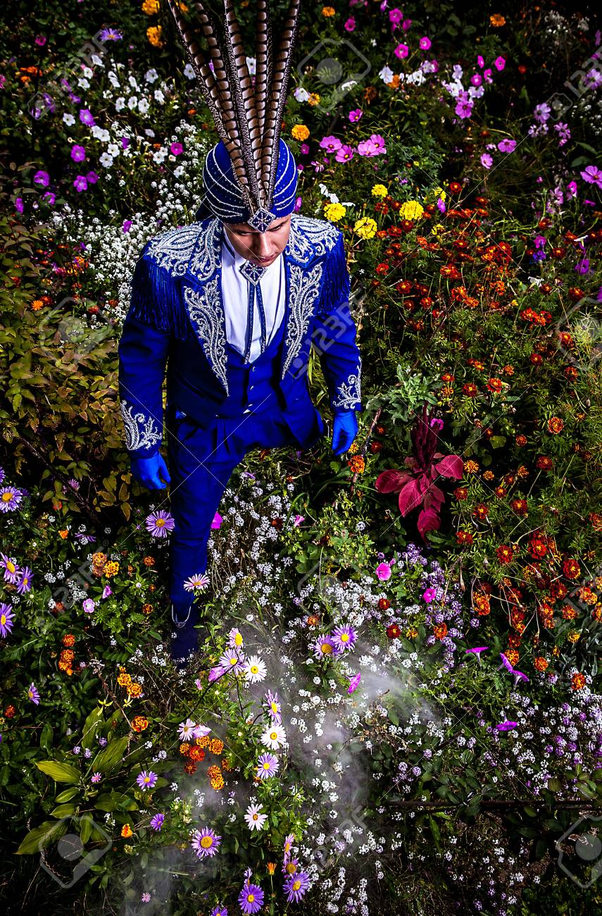 Man in expensive dark blue suit of illusionist pose on flower meadow Stock Photo - 15587992