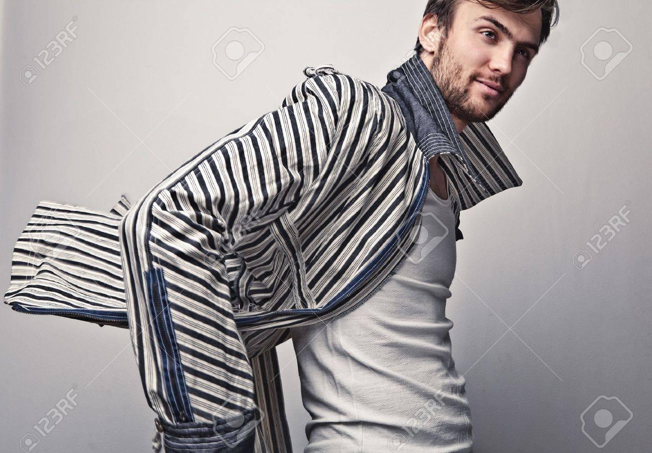 Elegant young handsome man  Studio fashion portrait Stock Photo - 15577022