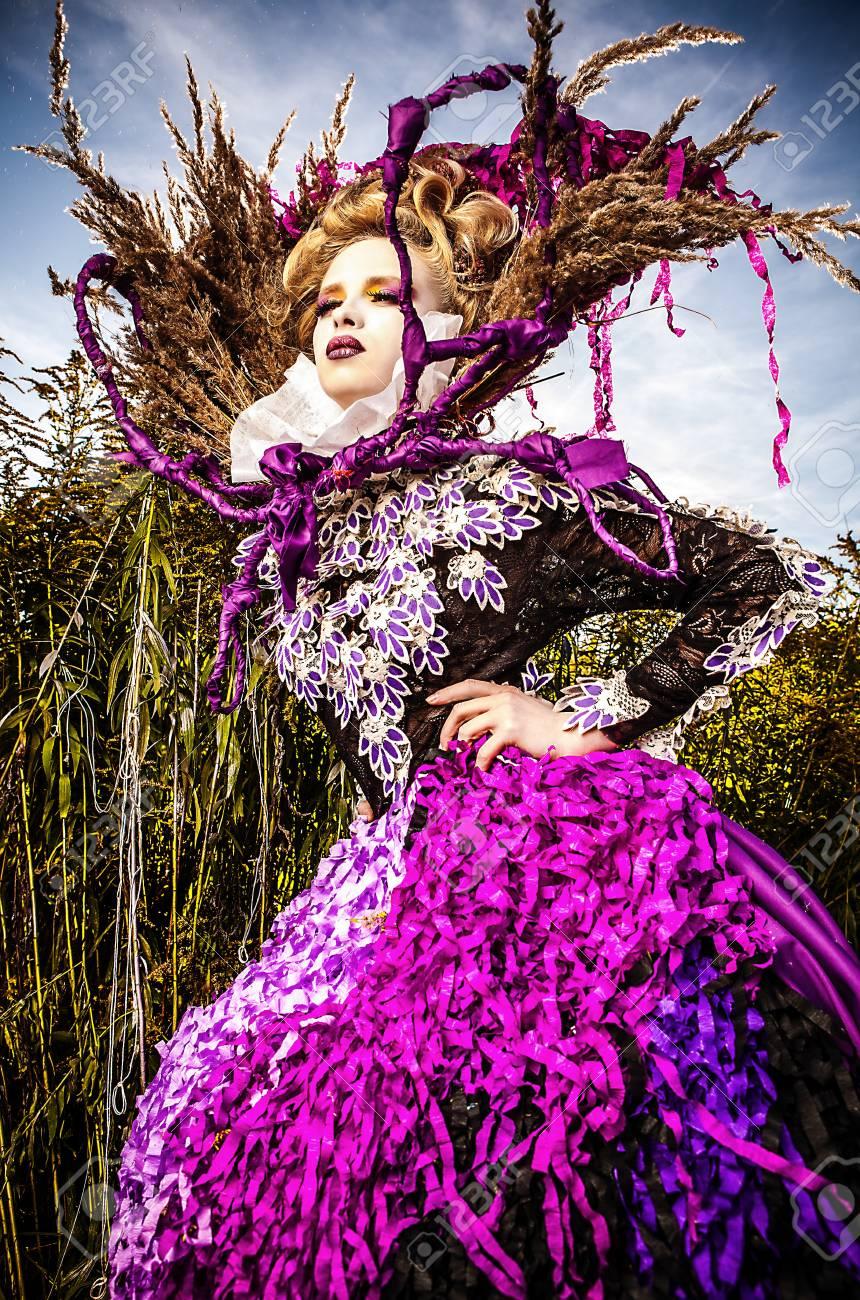 Dramatized image of sensual fashion girl - Art Fashion outdoor photo Stock Photo - 17021571