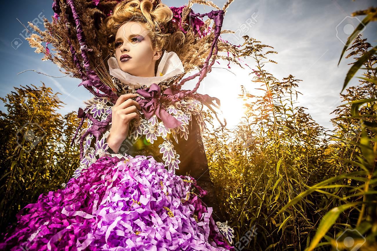 Dramatized image of sensual fashion girl - Art Fashion outdoor photo Stock Photo - 17060687