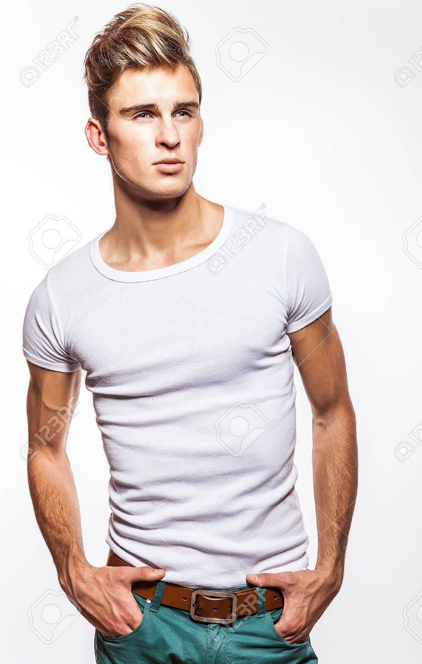 Elegant young handsome man Studio fashion portrait - 16958190