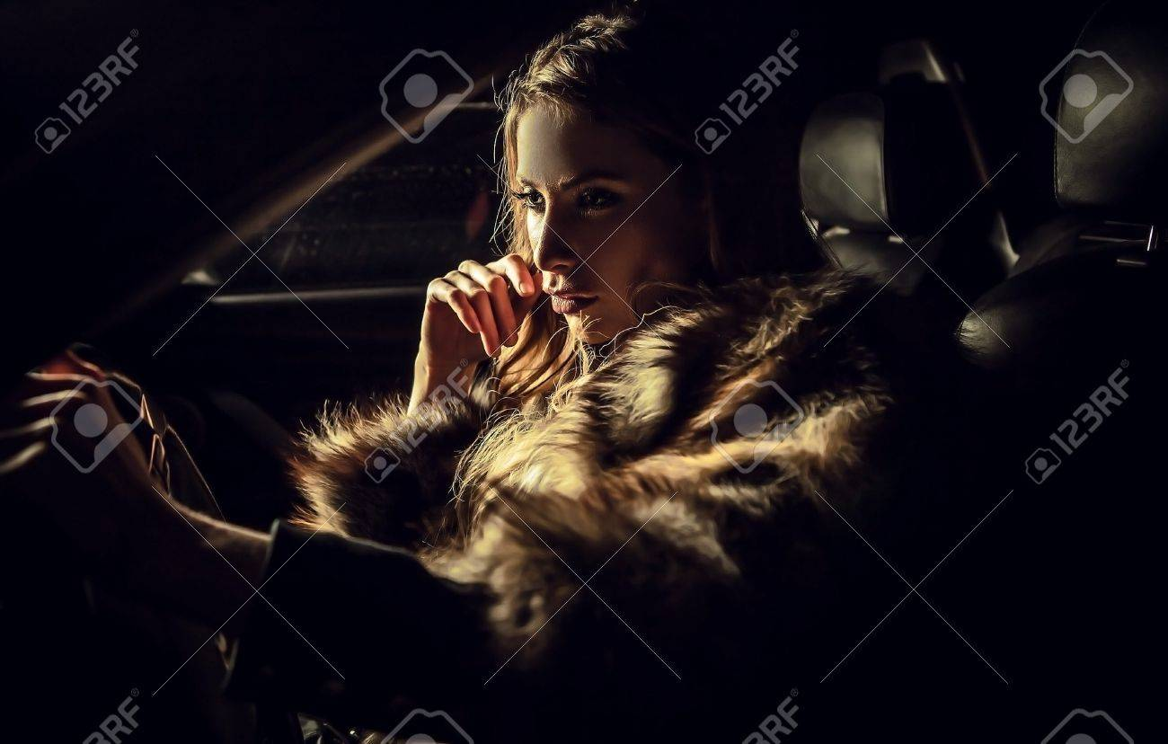 Luxury woman in a car Stock Photo - 17130089