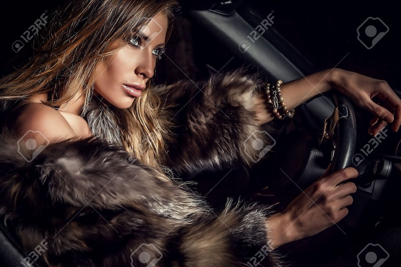 Luxury woman in a car Stock Photo - 17130092