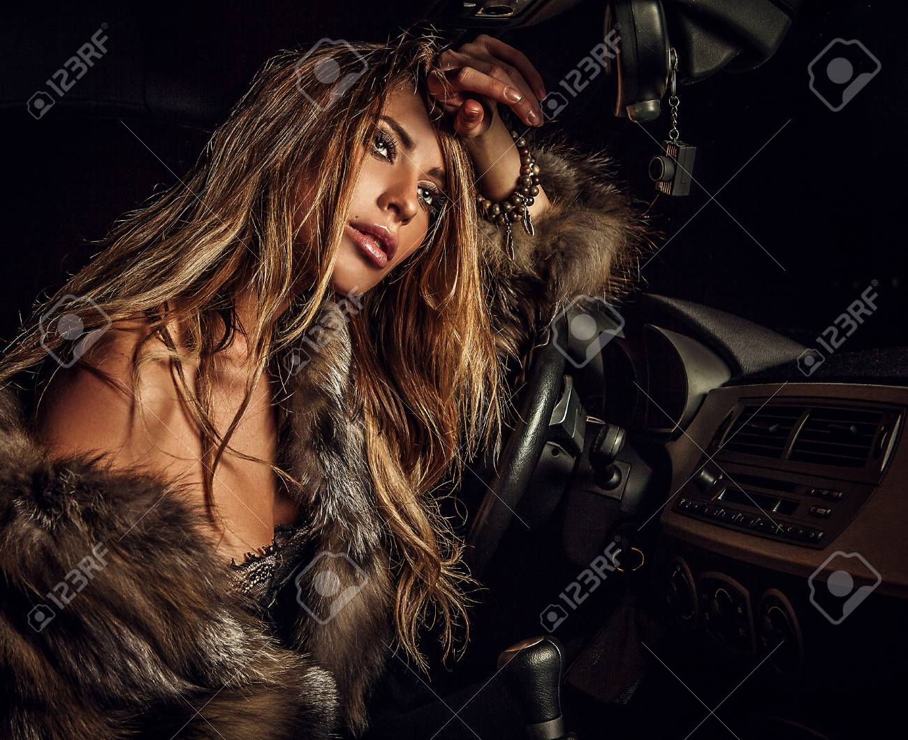 Luxury woman in a car Stock Photo - 17130103