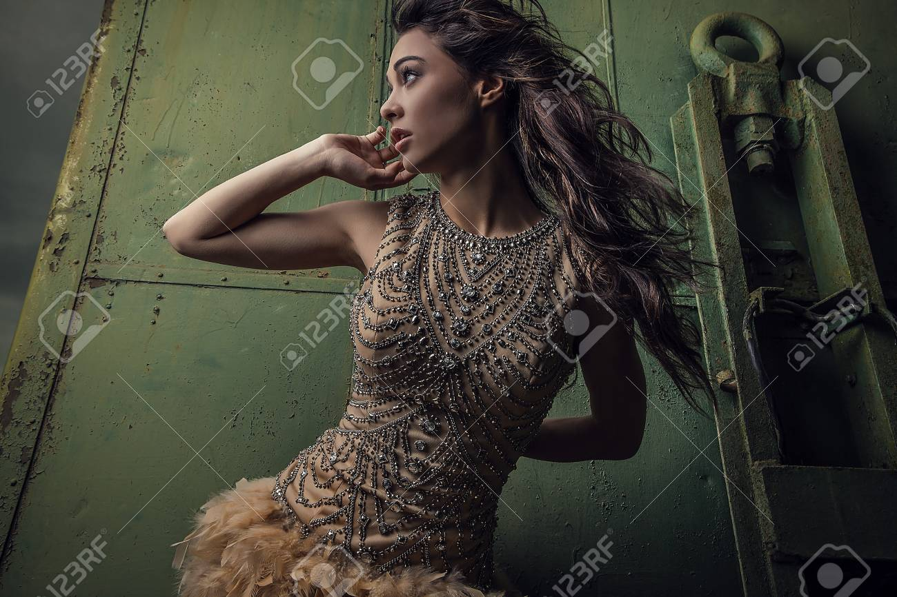 Dramatized image of sensual   attractive young woman in luxury dress Banque d'images - 22572507
