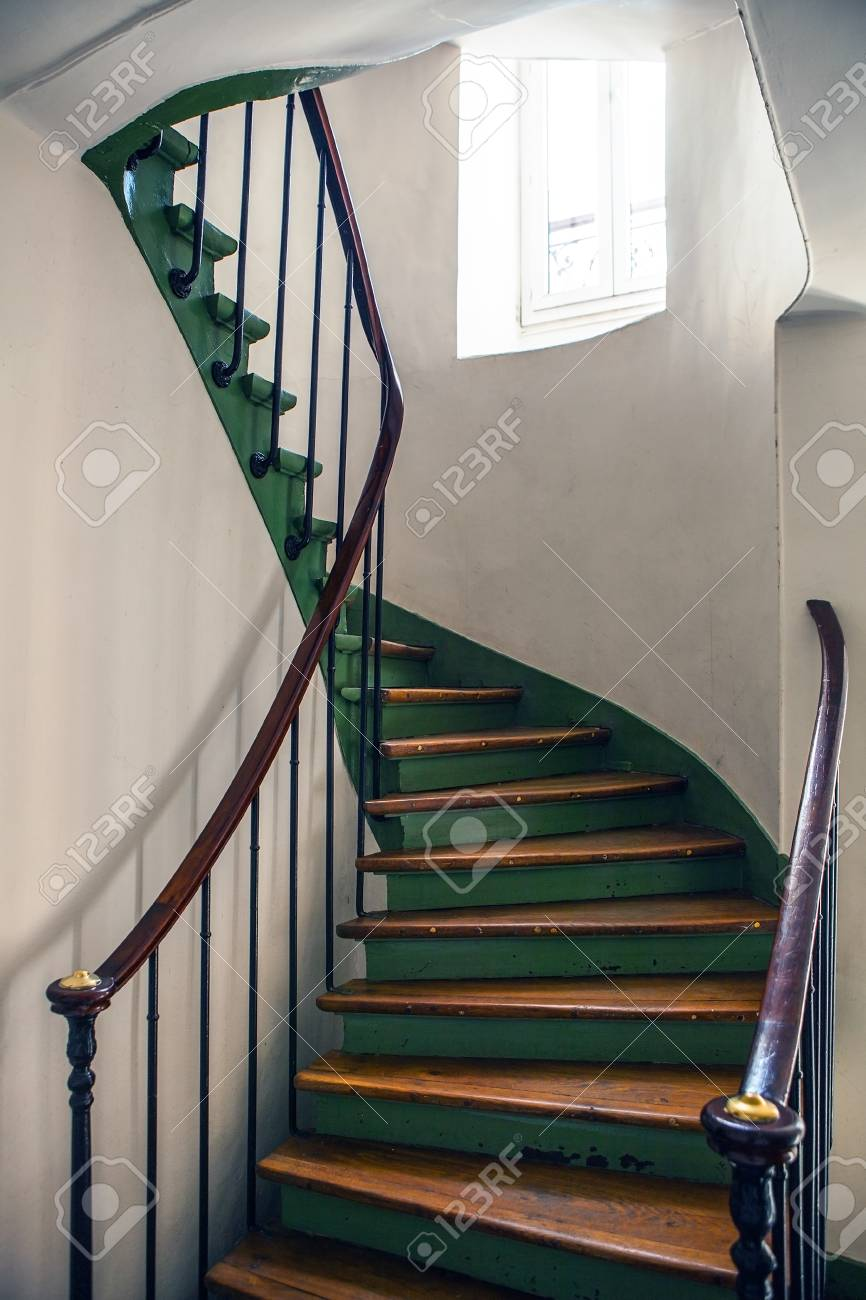 Wooden Spiral Staircase In Old Building, Paris, France. Stock Photo    51131095