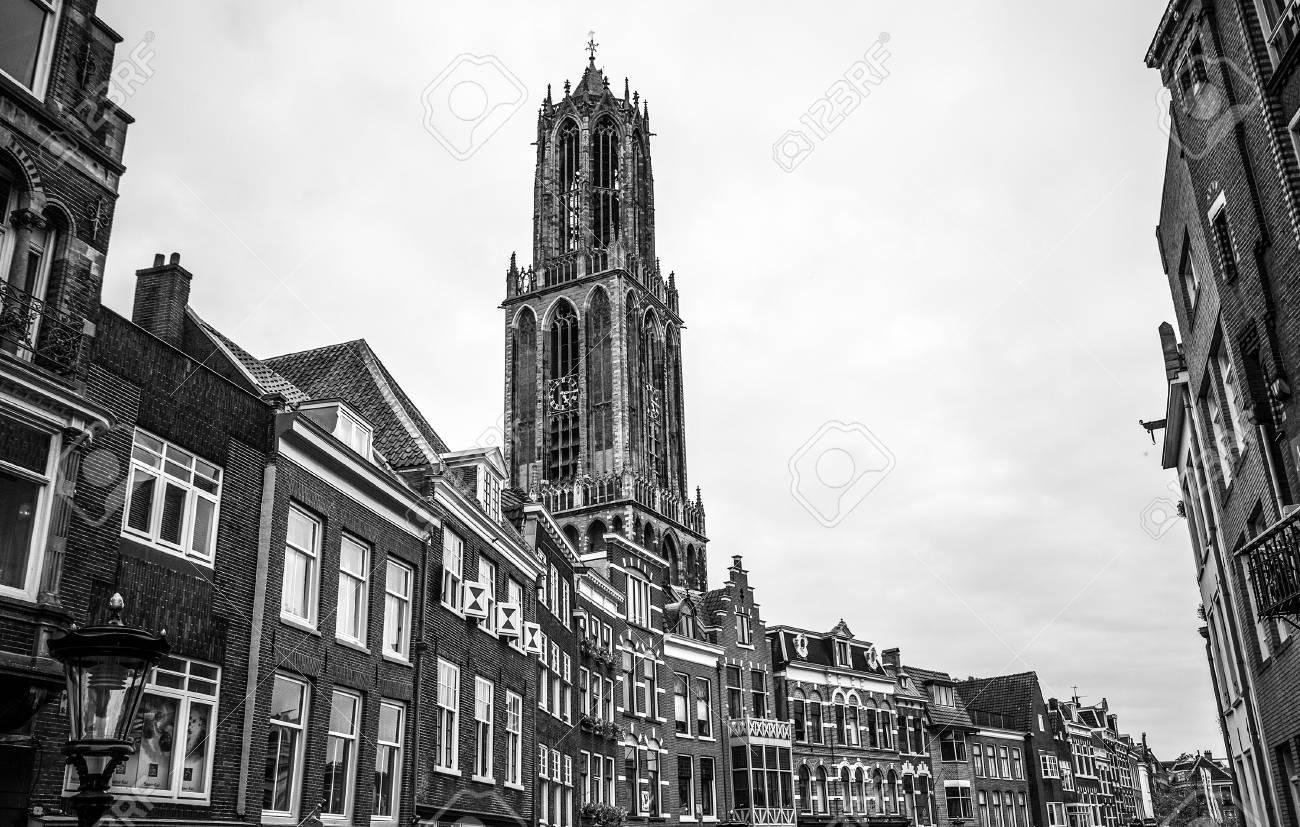 Ancient european church utrecht holland black white photo stock photo