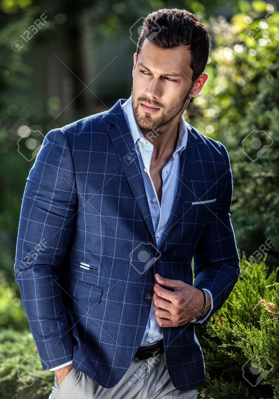 Elegant Handsome Man In Classical Jacket Poses Outdoor Stock Photo Picture And Royalty Free Image Image 59991065