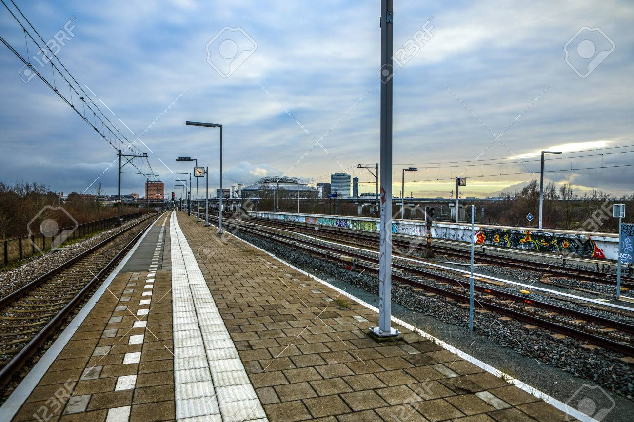 AMSTERDAM, NETHERLANDS - Metro station of Amsterdam with opened