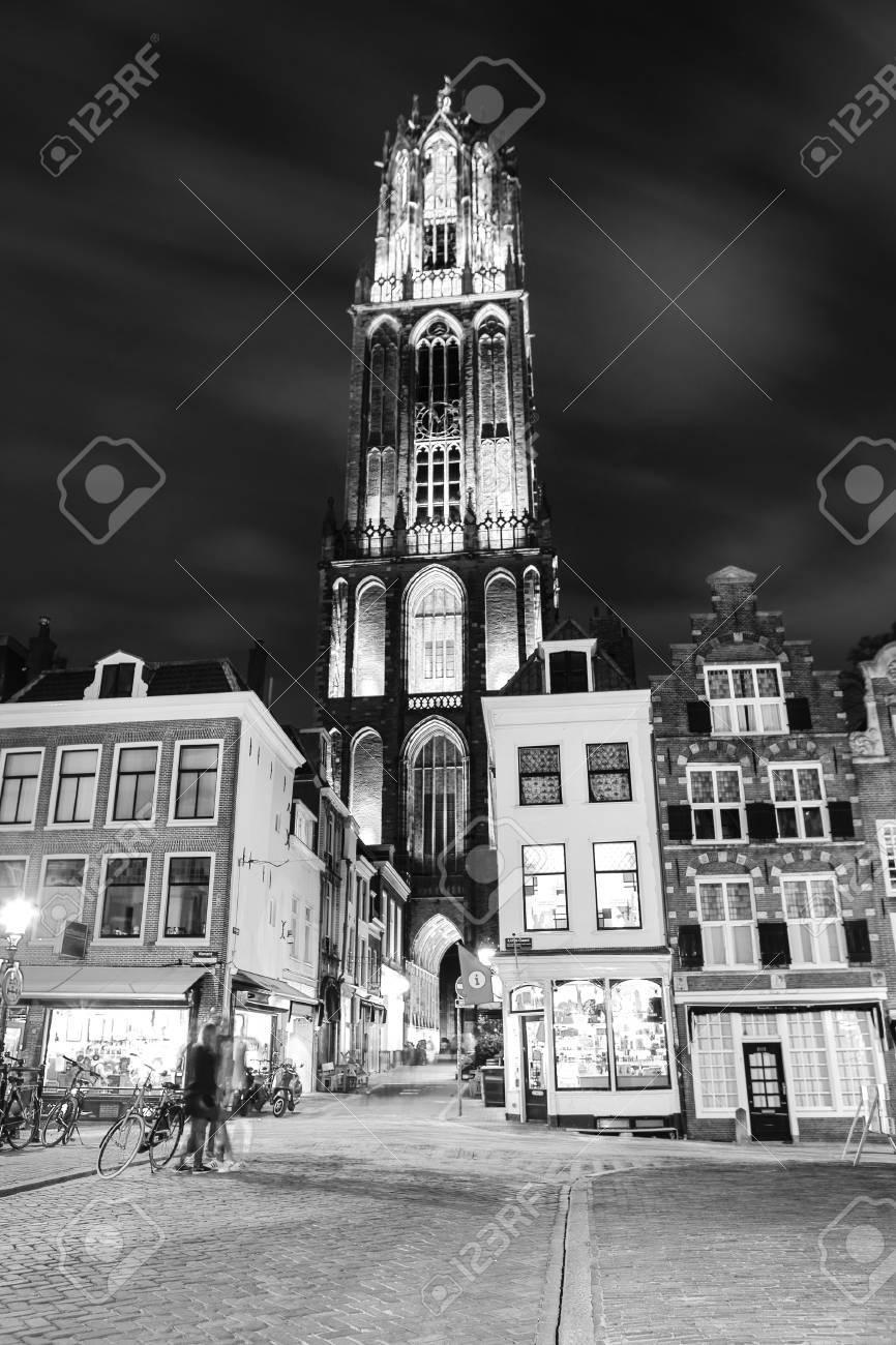 Ancient european church close up at night black white photo utrecht holland