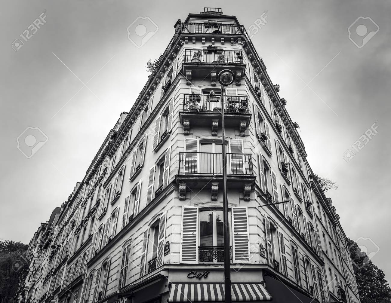 Traditional architecture of residential buildings black white photo paris france stock