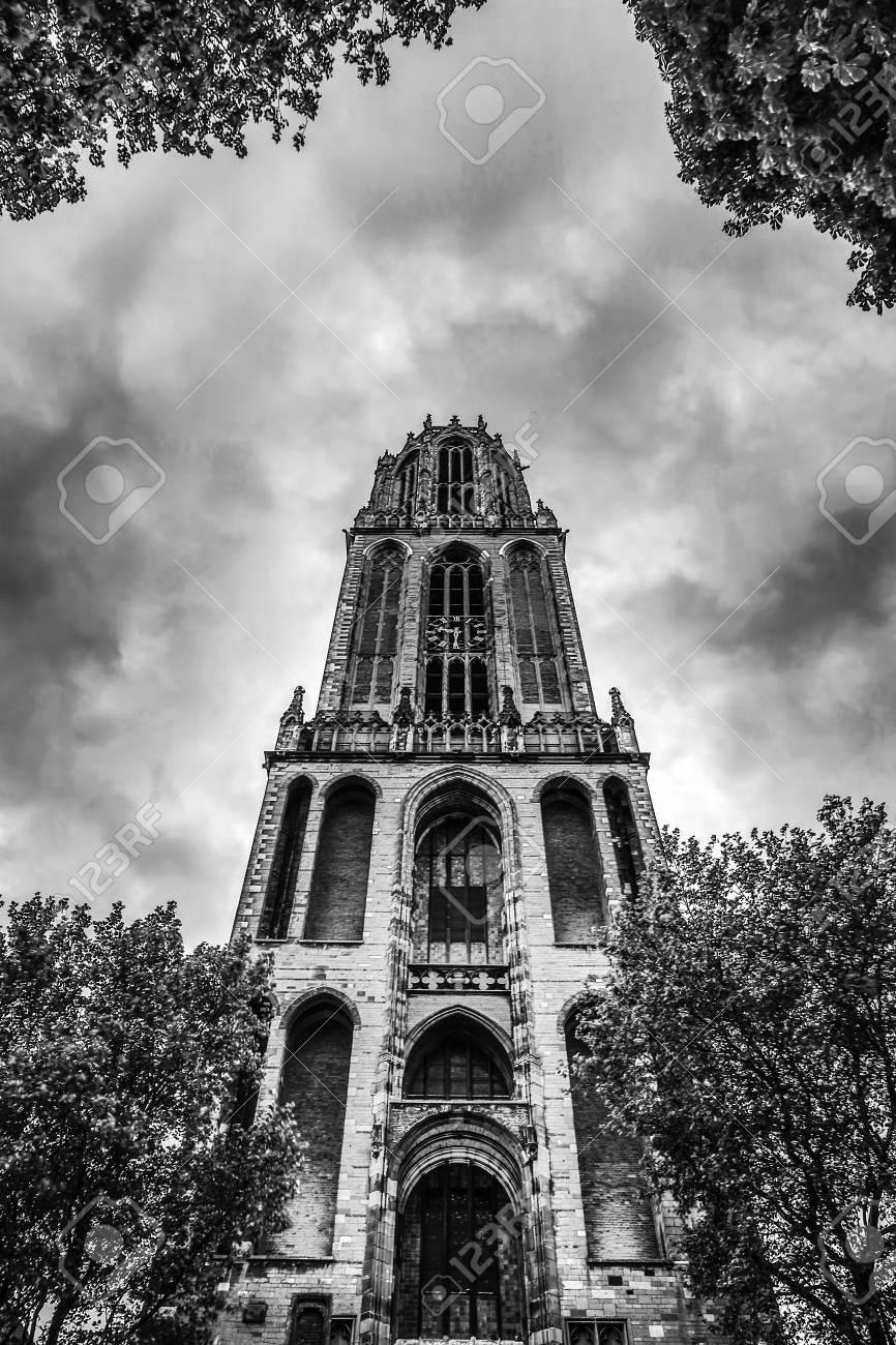 Ancient european church in utrecht black white photo stock photo 106287403