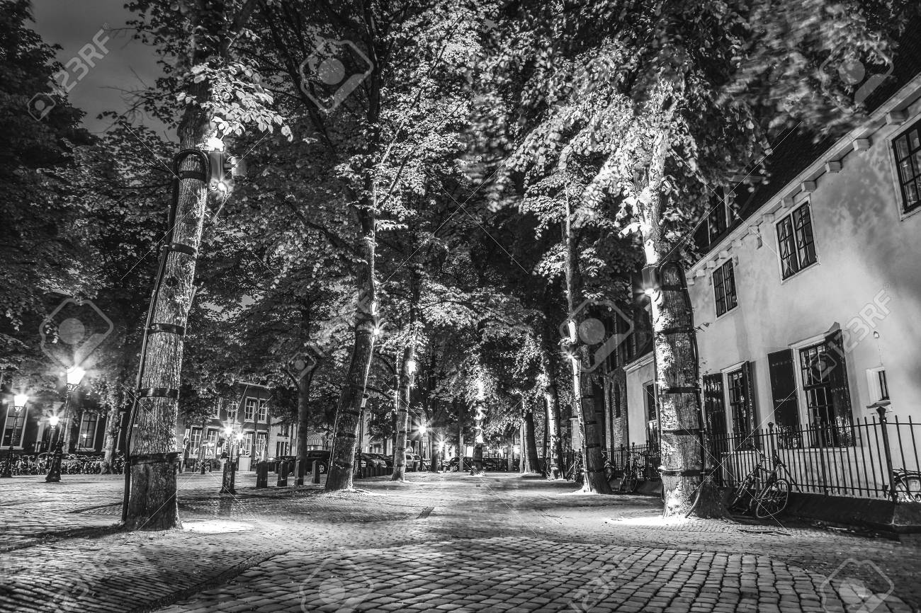 Stock photo streets and buildings of the ancient european city utrecht black white photo