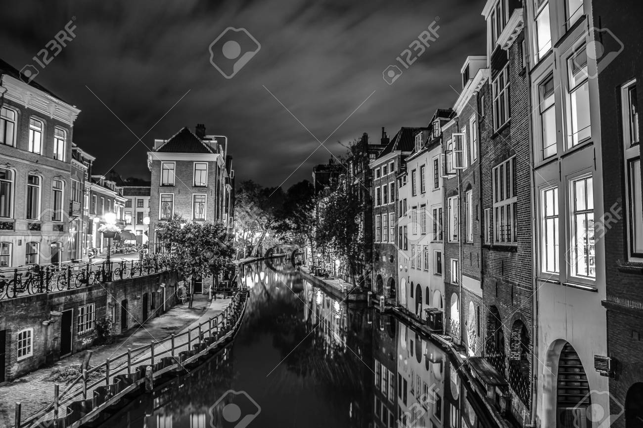 Canals and embankments of utrecht black white photo stock photo 106289447
