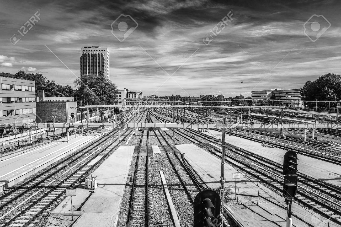 General view of modern city architecture of central station in utrecht black white photo