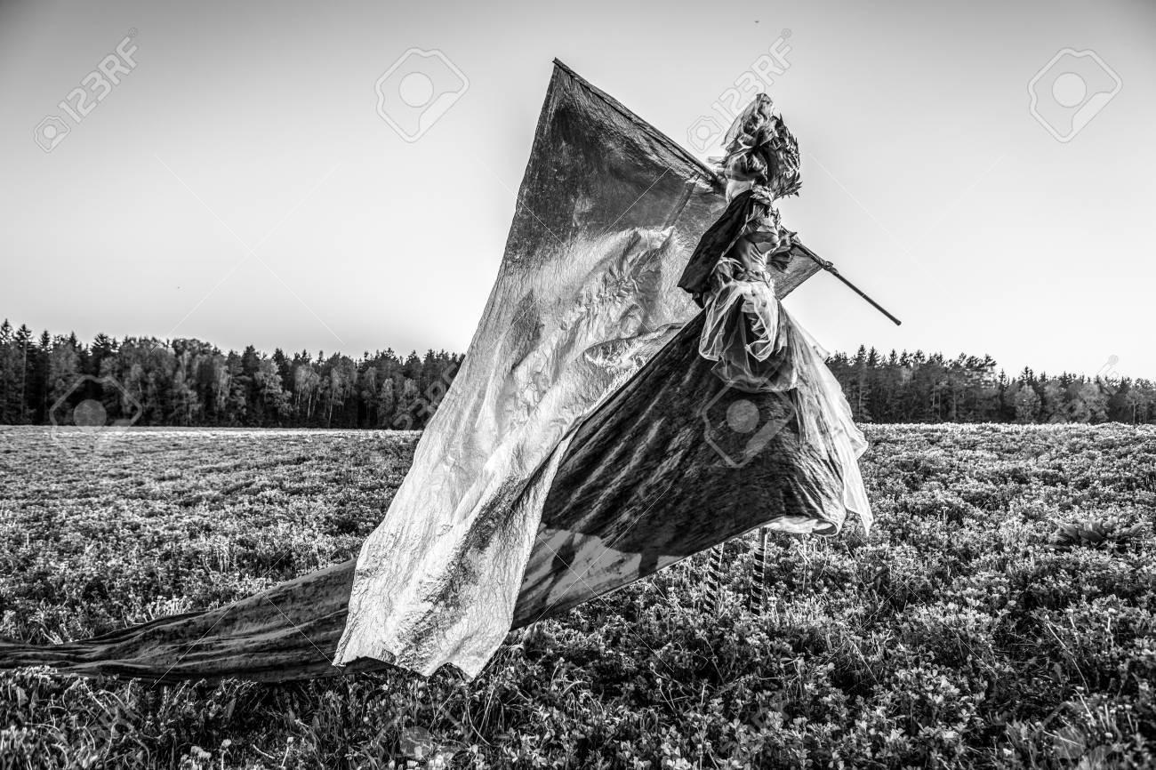 Fairy tale woman on stilts with silver flag in fantasy stylization fine art black