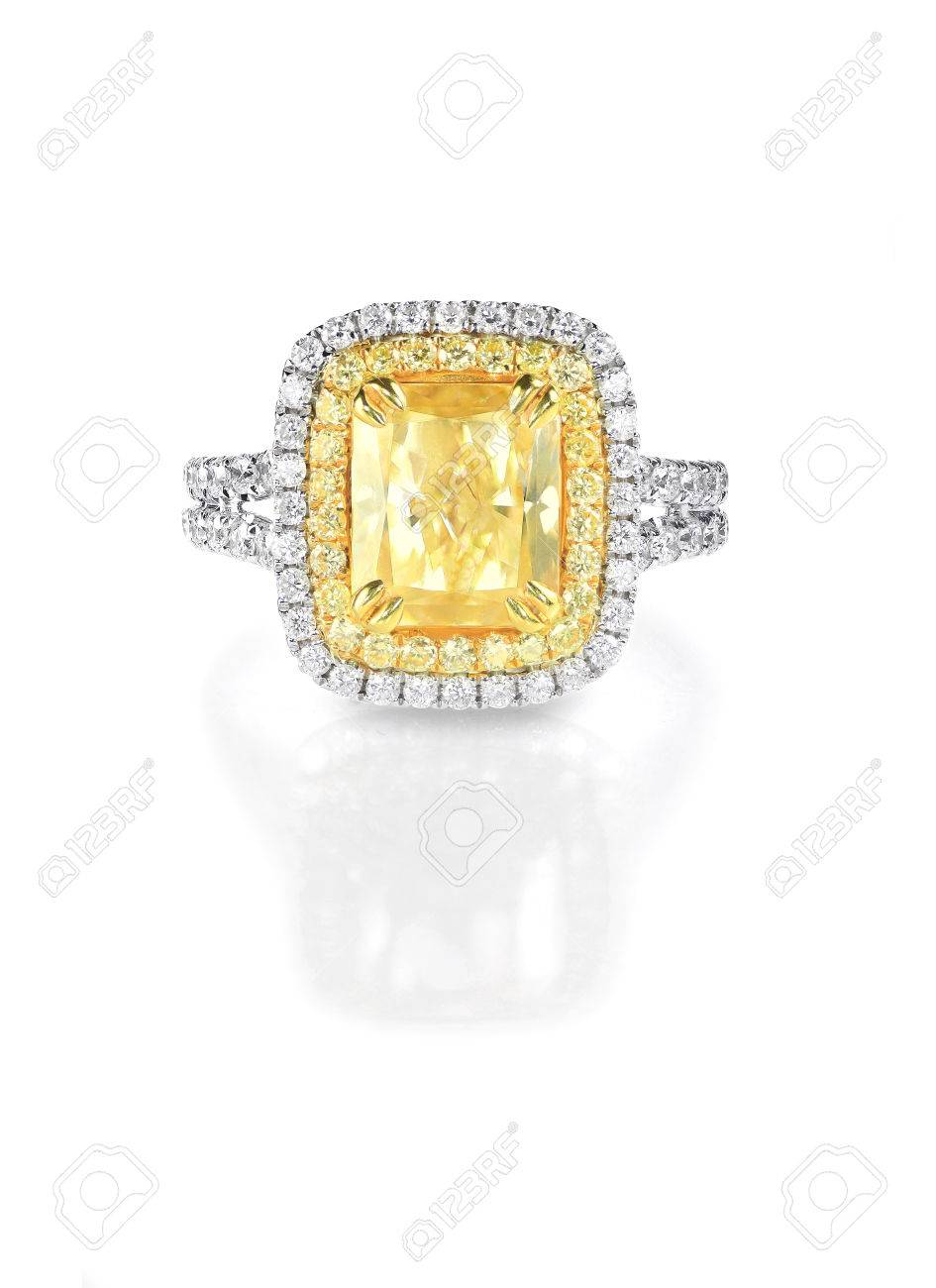 Yellow Canary Diamond Large Engagment Ring In Halo Setting Emerald