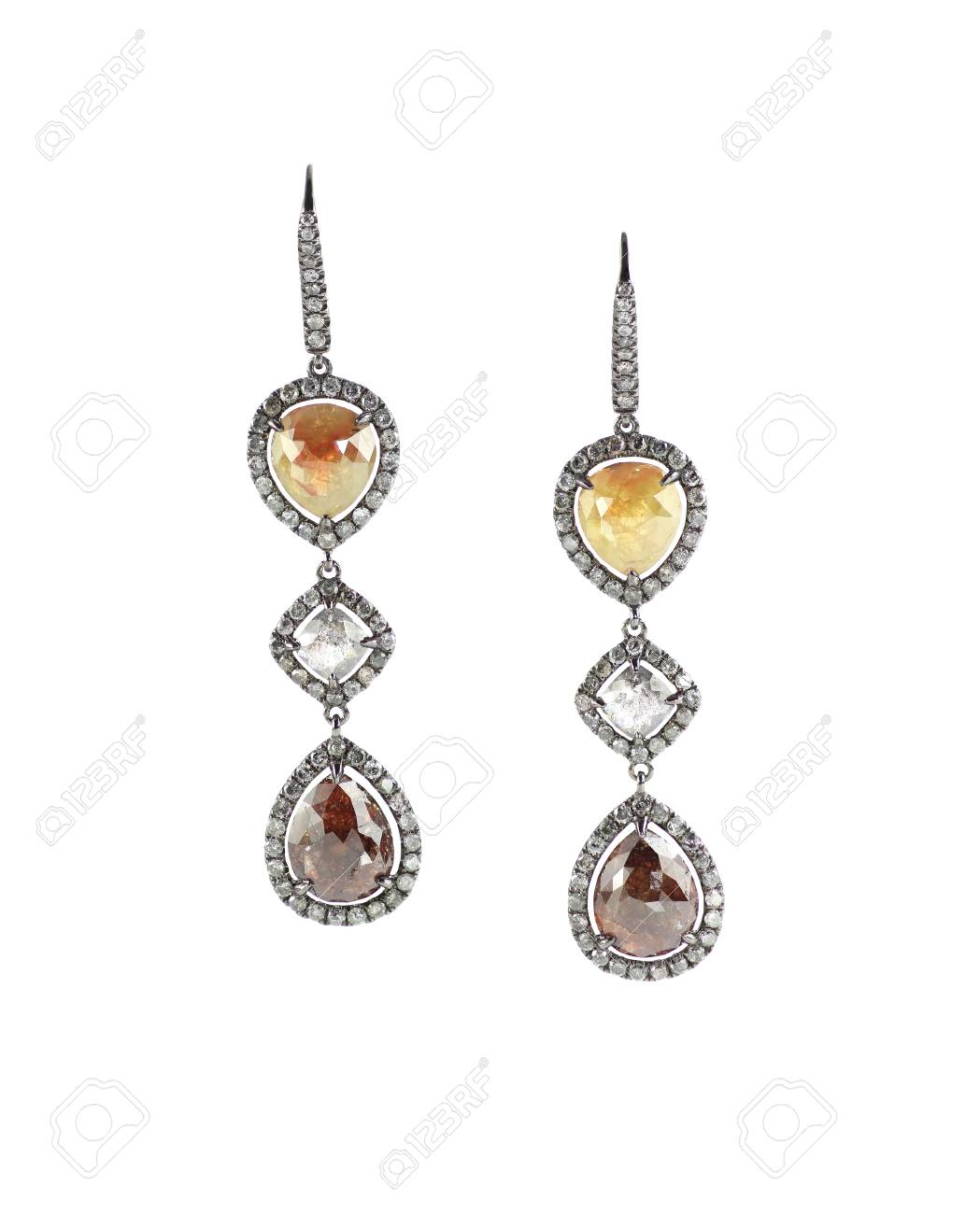 browse product diamond round white quartz earrings rutilated gold products