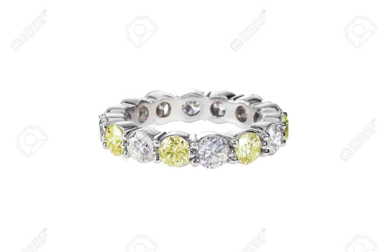 Canary Yellow Diamond Wedding Band Citrine Ring Isolated On White ...