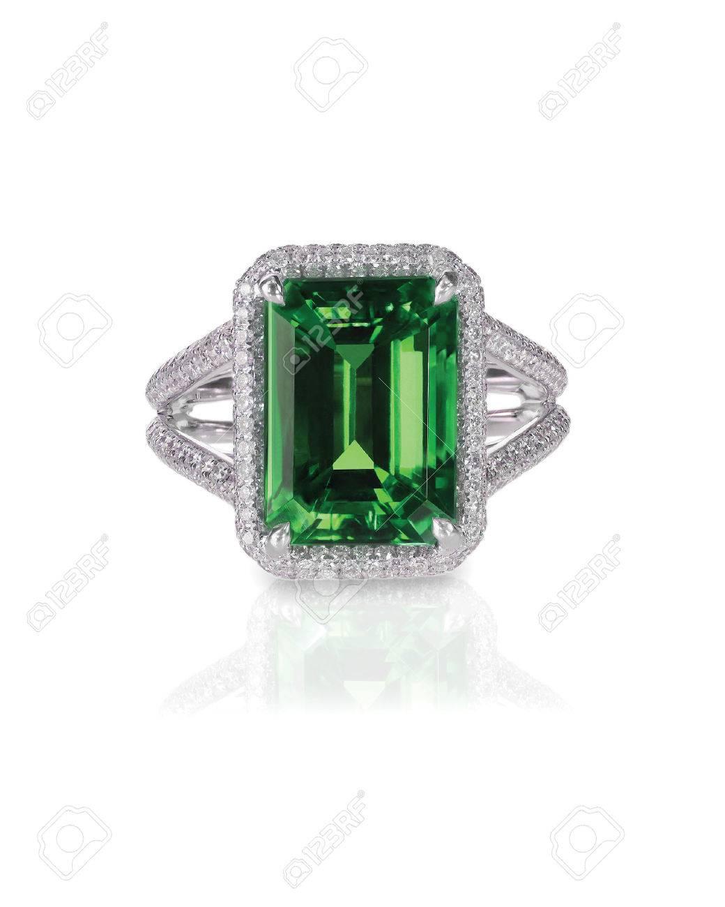 green emerald fashion engagement diamond ring band isolated on white - 54801829