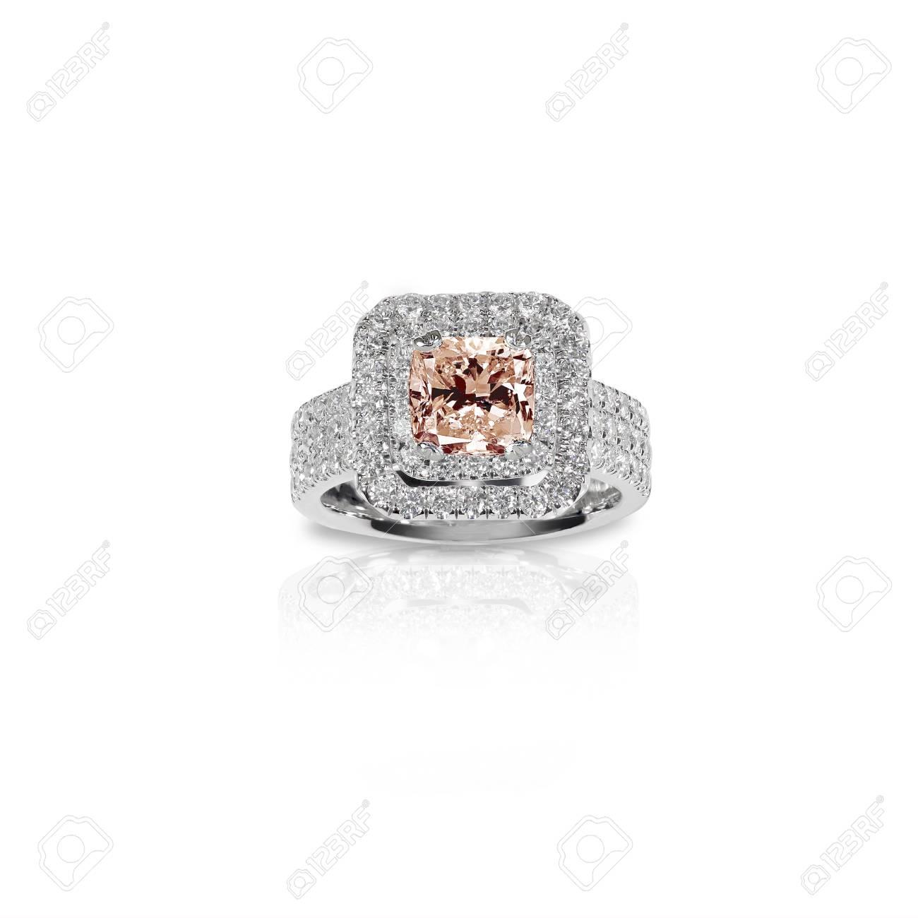 venta de liquidación excepcional gama de colores estilos frescos Melocotón Pink Morganite Anillo de compromiso hermoso diamante. Corte de  princesa cuadrada de piedras preciosas rodeado por dos halo de diamantes.  ...
