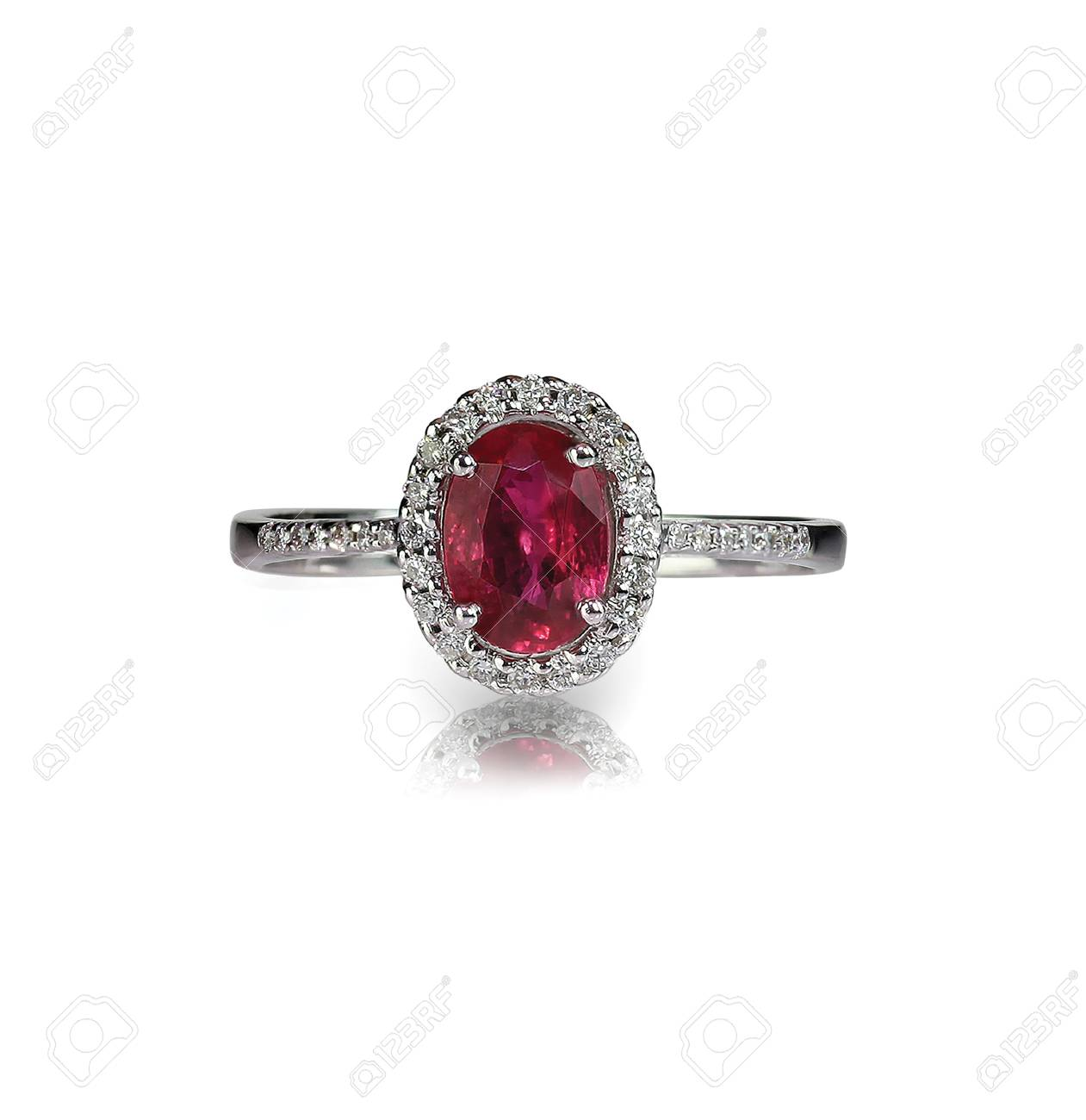 Ruby Center Stone Ring isolated on white - 107735878