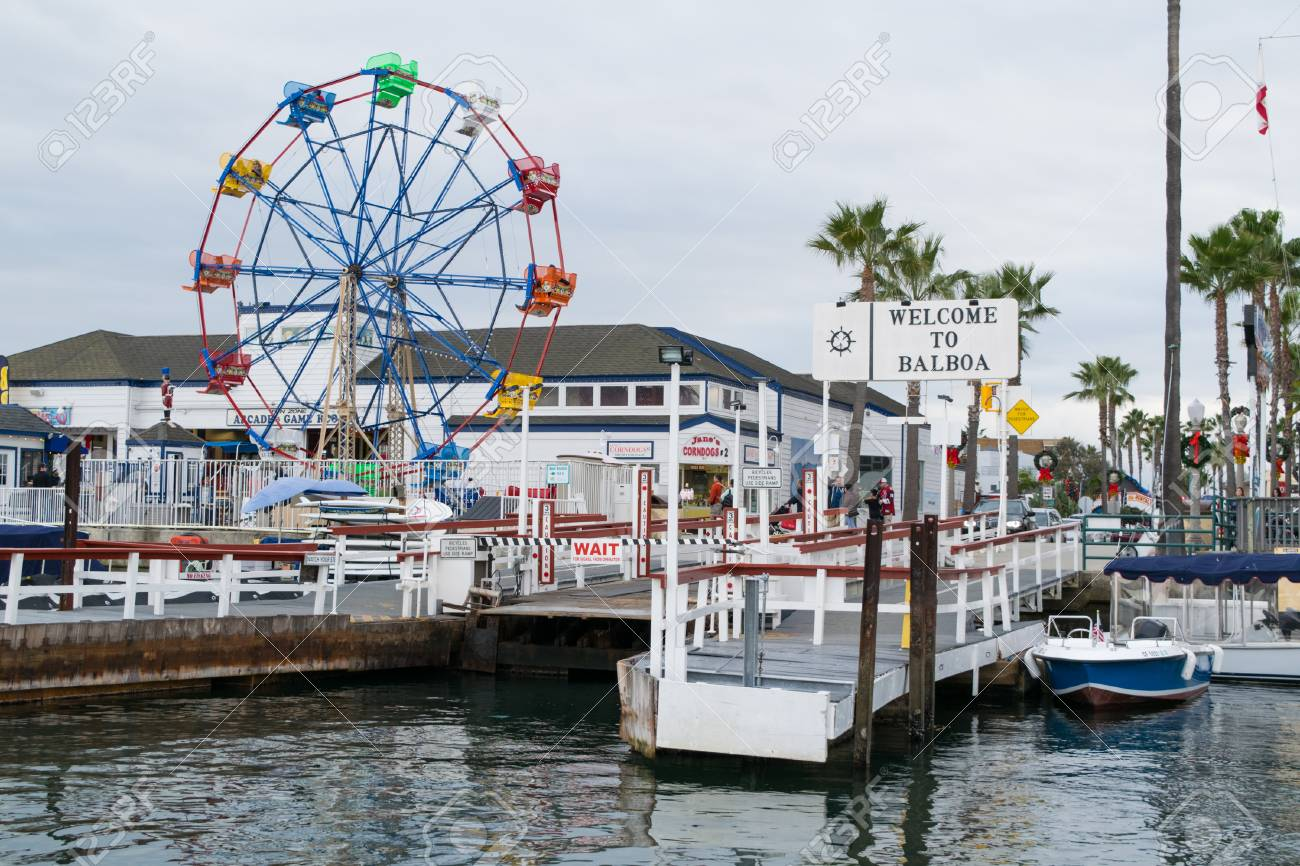 balboa island pier near newport harbor beach in california stock