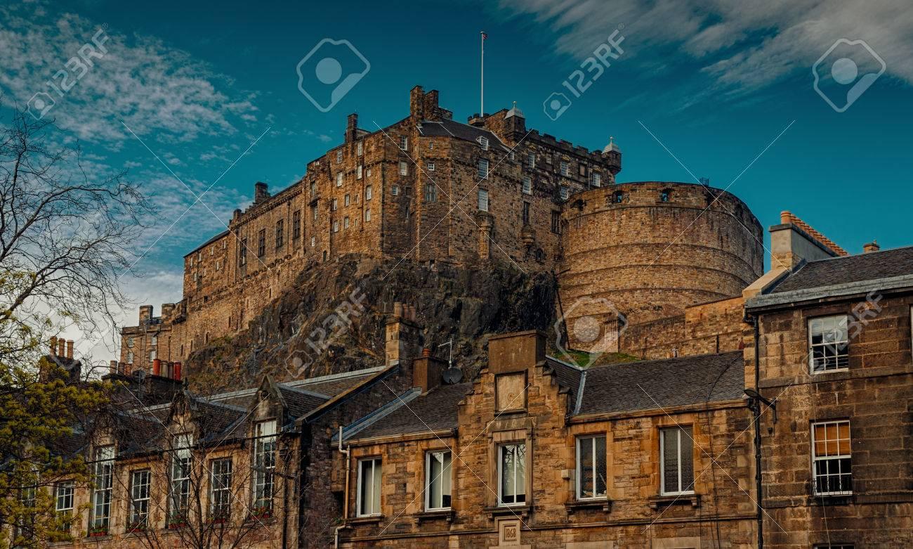 edinburgh circa 2016 a telephoto shot of the edinburgh castle scotland uk