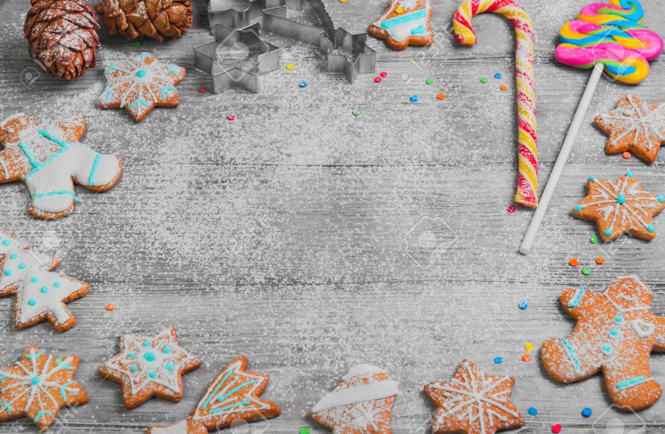 Christmas Cookies Cones New Year Gingerbread Christmas Card