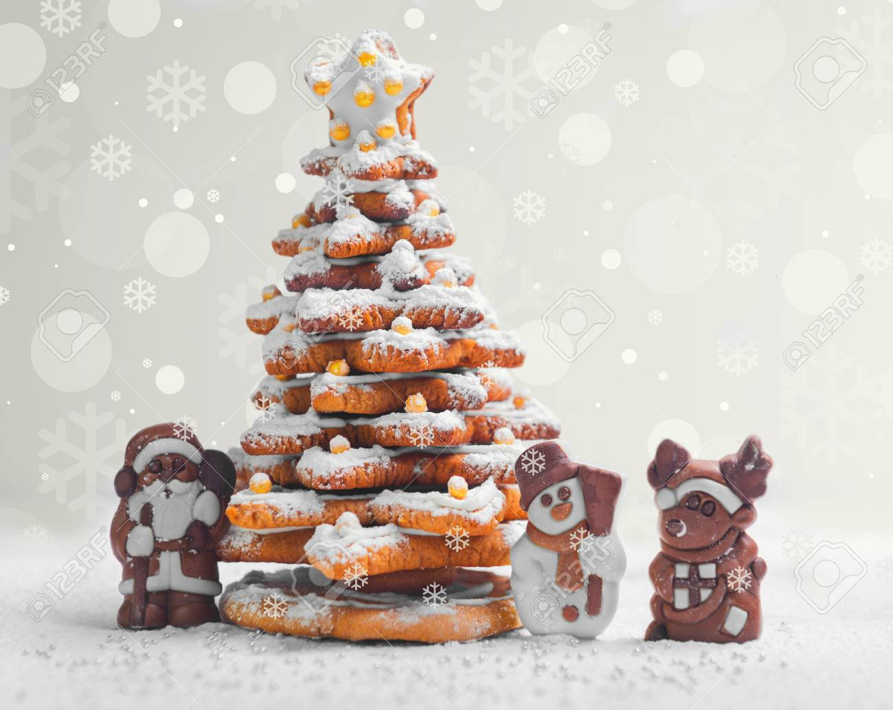 New Year Christmas Card Gingerbread Christmas Tree Cookies Decorated