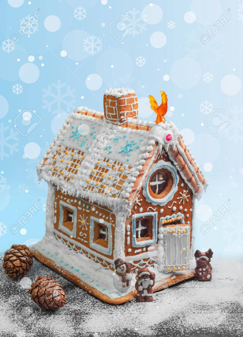 New Year Christmas Gingerbread House Decorated With Icing Sugar
