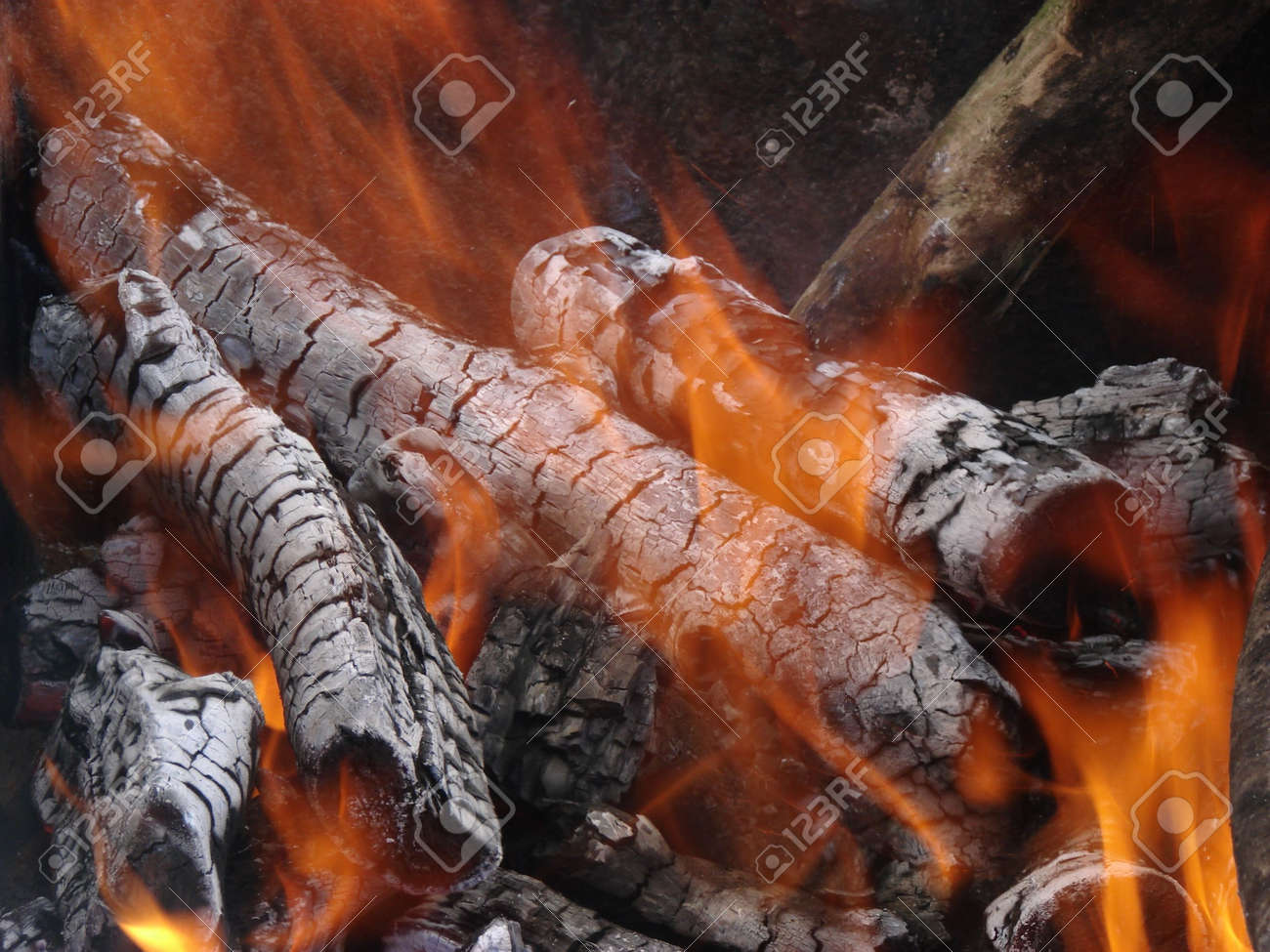 Flaming Wooden Coal Logs Of Camping Fireplace 10 Stock Photo