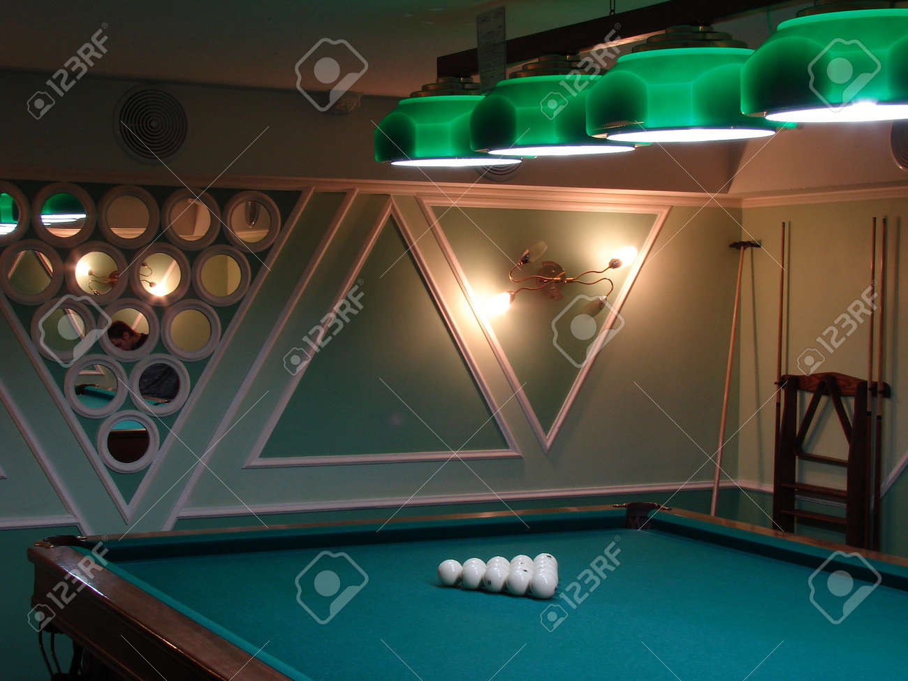 Pool table with white balls on green table Stock Photo - 1051237