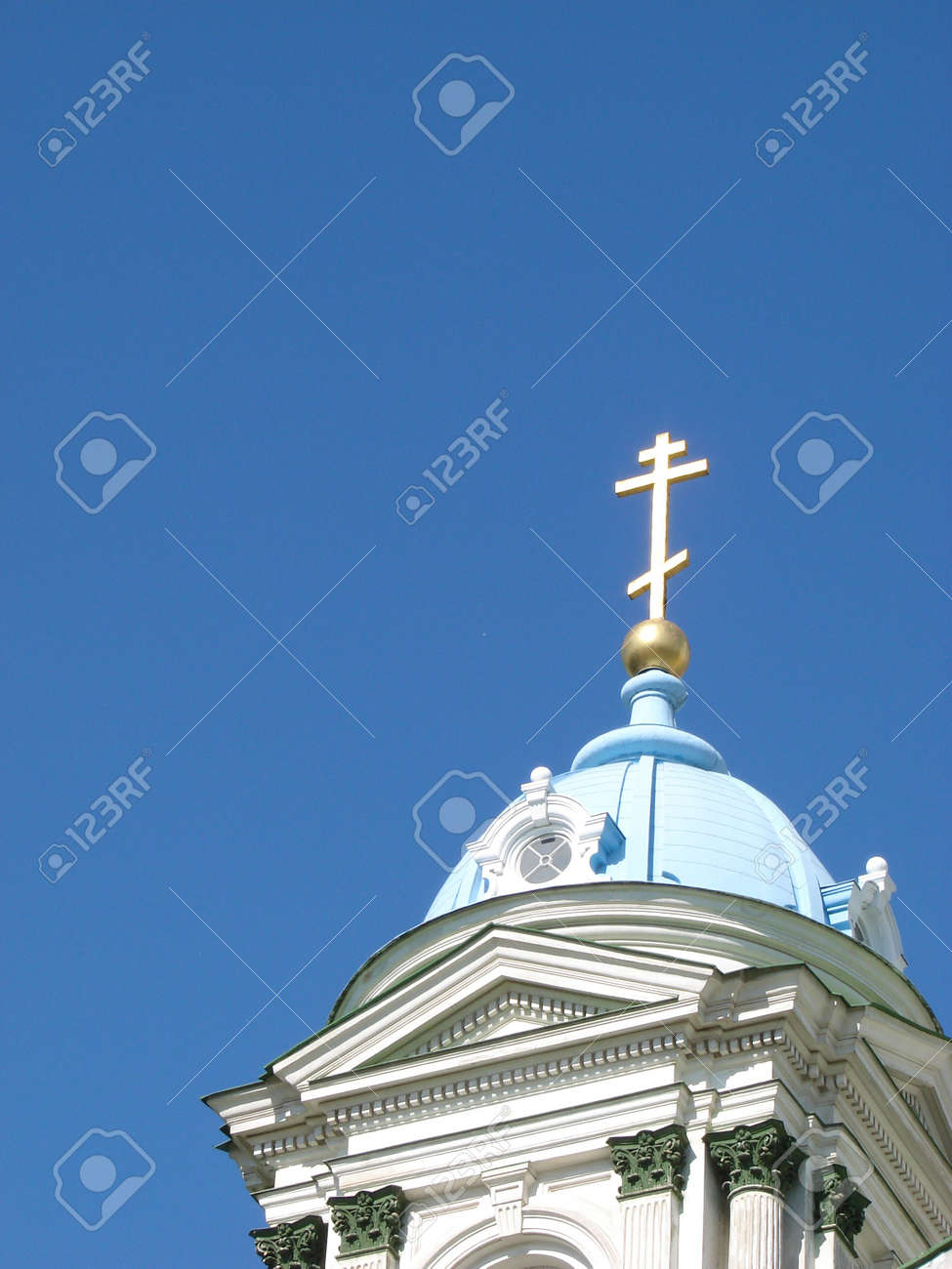 Blue cupolas of St. Trinity  Cathedral Upon deep slue sky Stock Photo - 999963