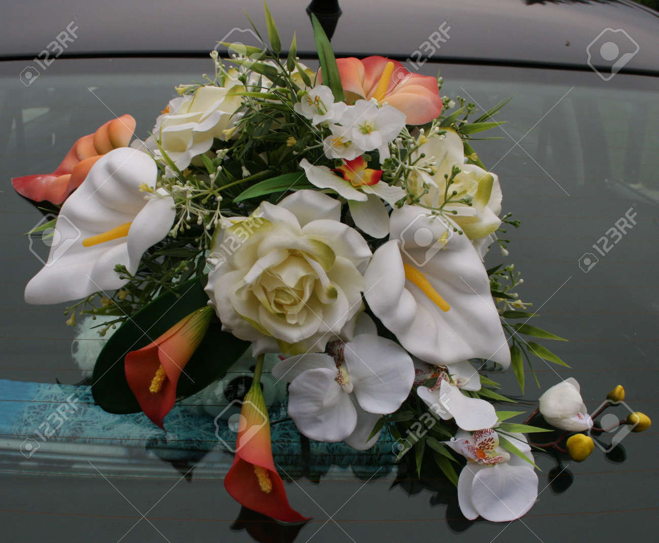 Wedding Car Decorations With Flower Bouquet Stock Photo, Picture And ...
