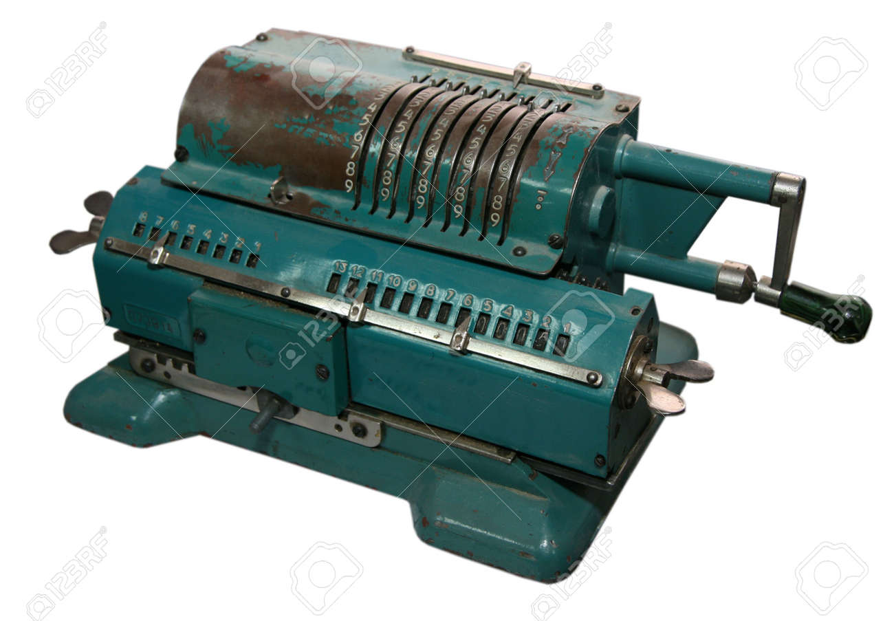 isolated obsolete vintage mechanical adding machine Stock Photo - 2449312